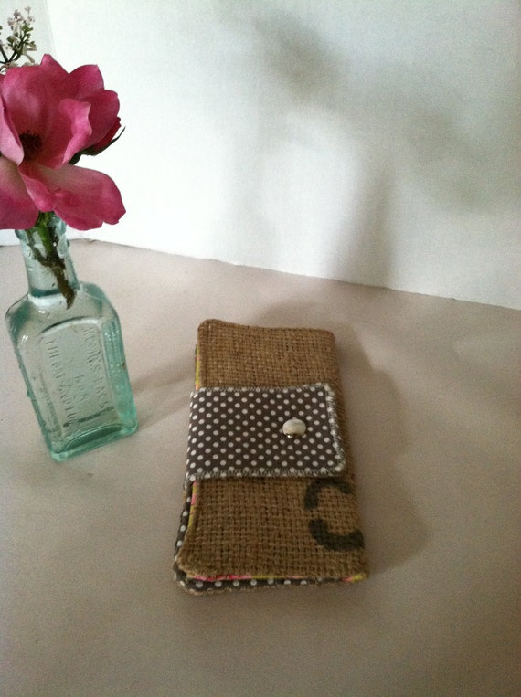 Repurposed Coffee Bean Burlap Wallet (Large) Gray Dots with Green and Pink Orchids