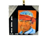 Native American Portrait - Wearable Art - Resin Silver Bail Pendant - TAGT