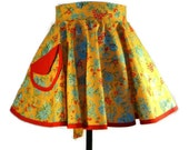Harvest TIme- Fall - Retro Circular half Apron 50's Kitchen Classic.  - Birthday - TAGT