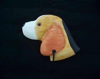Beagle dog leash holder, hand carved and painted by Randy & Elaine Fisher ,FISHER WILDLIFE
