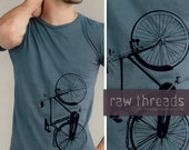 Tshirt Organic -- Distressed Bicycle on an Organic Blue Tee