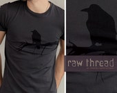 Mens T shirt Organic -- Raven Bird on Organic Smoke Tee