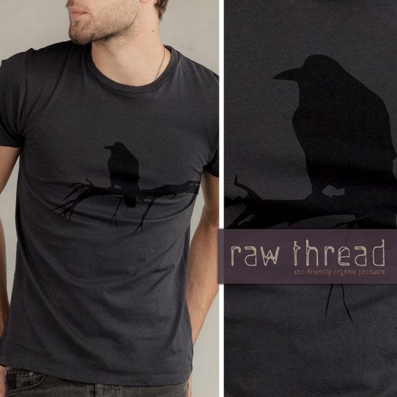 Mens T shirt Organic -- Raven Bird on Organic Smoke Tee