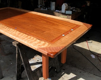 laminated hardwood dining table with inlay    custom made to order