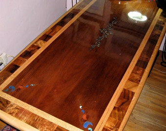 custom laminated exotic hardwood dining table with inlay  reclaimed wood