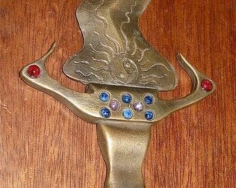 solid bronze kris dagger with color stones ceremonial or decorative