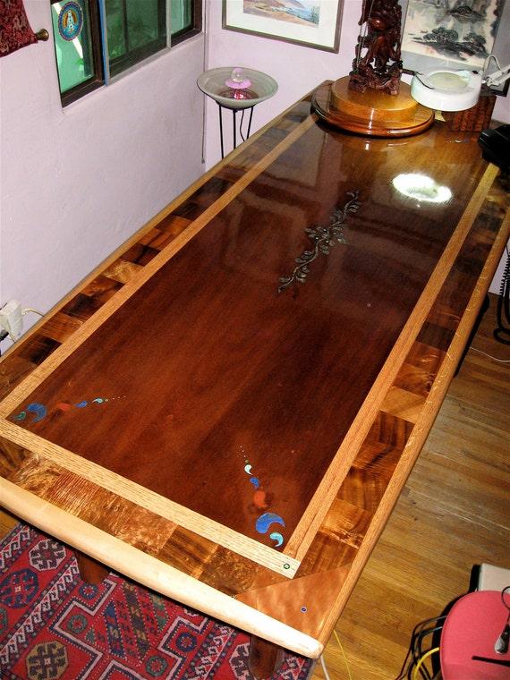 Custom Laminated Exotic Hardwood Dining Table With Inlay