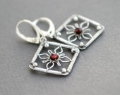 FLOWER SQUARES Sterling Silver Wire Wrapped Dangle Earrings Garnet Round Beads