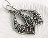MARGOT Sterling Silver Wire Wrapped Dangle Earrings with Garnets