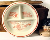 Vintage Little Bo Peep / Girl With Lambs / Children's Plate by Fire King