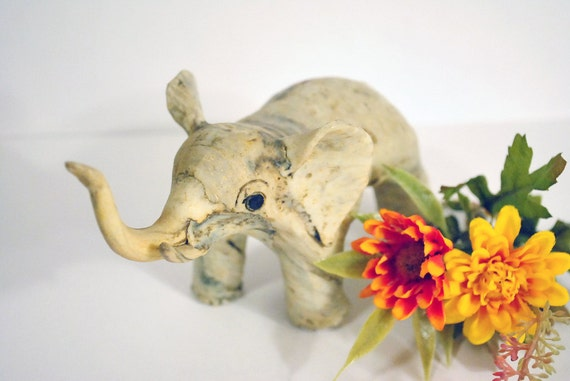 Unique Vintage Elephant Figurine / Statue, Handmade Clay Sculpture