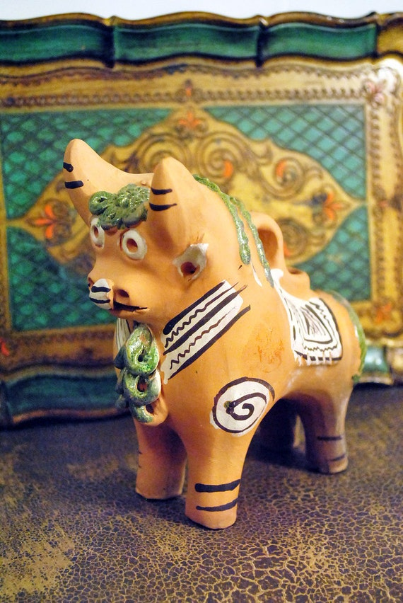 Unusual Vintage Peruvian Pottery Bull / Cow Bank
