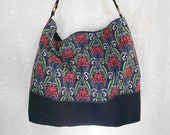 Blue Shoulder Bag with Art Nouveau Floral Print.