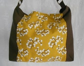 30% OFF SALE: Brown and Goldenrod Shoulder Bag with White Berries Pattern.
