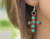 Cross EARRINGS, Turquoise Stone, Brown, Orange, Knit semi precious stone Earrings, Macrame Earrings