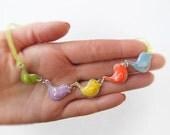 Cute Birds Colorful Necklace  - flock of birds