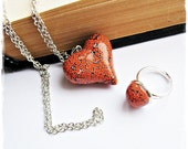 christmasinjuly  Bright Set  necklace pendant-heart on chain and ring pendant-heart on chain  - Polymer Clay