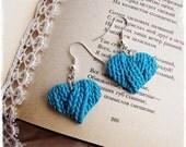 Earrings -Blue Hearts -imitation knitting - Dangle earringsn -  Polymer clay