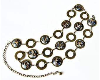 Women Belt and studs, Brass Chain Link Belt, Metal  Chain Polymer Clay Belt, Circle Chain Belt, Bohemian belt, Boho set, Denim style