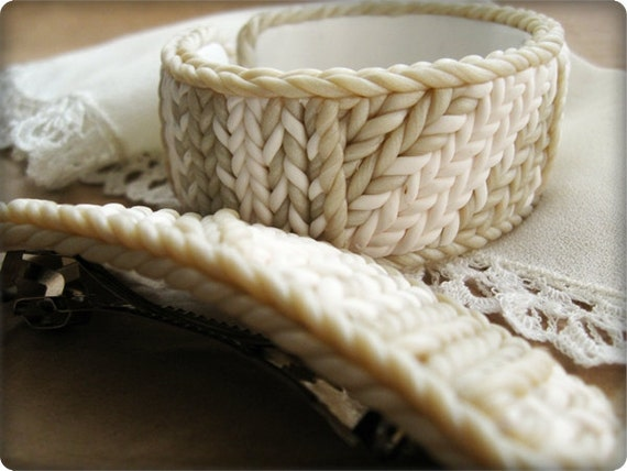 Bracelet and barrette for hair - White on White   -Polymer Clay -Free Shipping