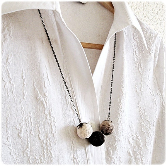 SALE Crochet necklace in color of coffee with cream Gift for Easter Free shipping