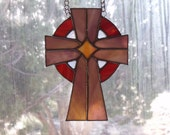 Celtic Cross - Marbled /Woodgrain glass (depends on light)   -REDUCED- 2X