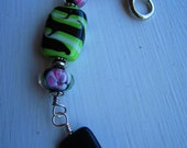 Green Glass Beaded Purse Bling / Key Chain Charm
