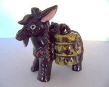 Vintage 40's PICO Handpainted Donkey Burro Salt & Pepper Kitschy Kitchen Collectible Display Set