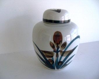 ON SALE Vintage Handpainted Ceramic Ginger Jar from Japan