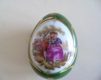 Vintage Limoges Handpainted Lovers Valentine Gift Easter Collectible China Egg Trinket Ring Dresser Box