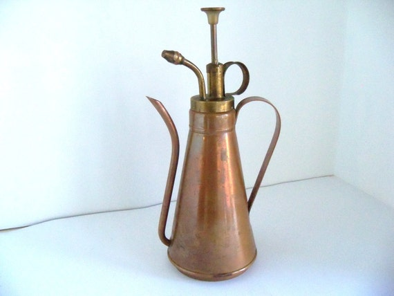 Vintage Copper Amp Brass Olive Oil Can Sprayer By