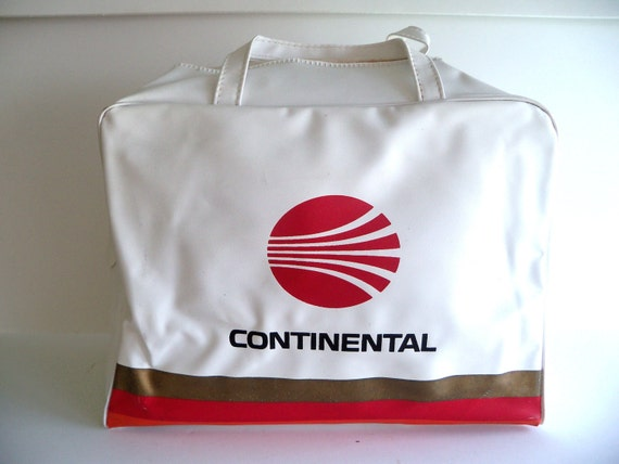 Authentic 70s Continental Airlines Carry On Tote Travel Flight Bag