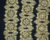 Antique rare ornate trim seed beads metallic pearl sequins flower motif embellishment