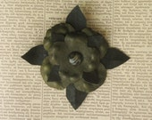 olive green and black leather flower brooch pin