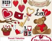 Sweet Valentine - Digital Clipart /  Scrapbooking red - card design, invitations, stickers, paper crafts, web design - INSTANT DOWNLOAD
