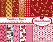 Valentines Day Digital Papers - Scrapbooking Papers red and gold -  invitations, paper crafts, web design - INSTANT DOWNLOAD