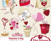Valentines Day  Clipart - Valentines Graphics, card design, invitations, stickers, paper crafts, web design - INSTANT DOWNLOAD