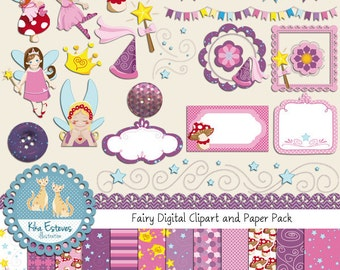 Fairy Digital Clipart and Paper Pack - Scrapbooking , card design, invitations, stickers, paper crafts, web design - INSTANT DOWNLOAD