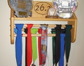 Running Trophy/Medal Rack (Stained W/ 26.2 Logo)