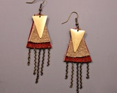 Layered Leather Earrings / Geometric Earrings / Leather and Chain / Tan and Brick