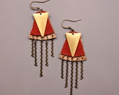 Layered Leather Earrings / Geometric Earrings / Leather and Chain / Gold and Brick