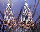 Steampunk Hardware Earrings -- Mixed Metal