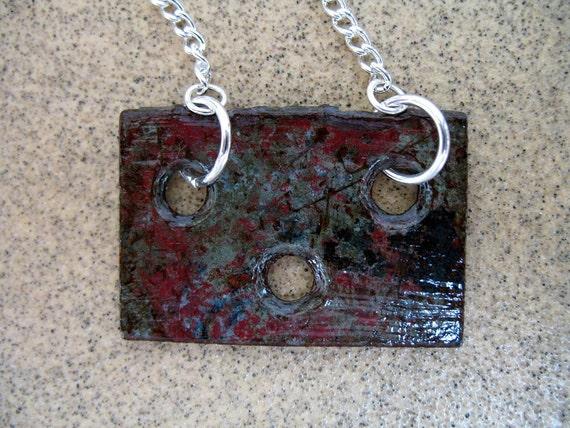 Minimalist Necklace - Upcycled Vintage Hardware Rusted Patina Verdigris Mixed Metal