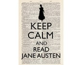 French Dictionary Print,  1920s Vintage Book Page, Keep Calm And Read Jane Austen, 5 x 7.5 Inches, Recycled Upcycled, Buy Two Get One Free
