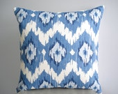 Ikat pillow cover. Indigo Blue Ikat on white pillow cover - 18 x 18