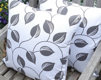 White and gray vine and leaf pattern pillow cover - 18 x 18