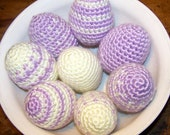 Crocheted Decorative  Eggs,  lilac and cream colored