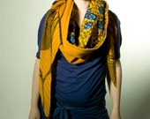 Mustard and blue scarf with wool and African wax (SJ163)
