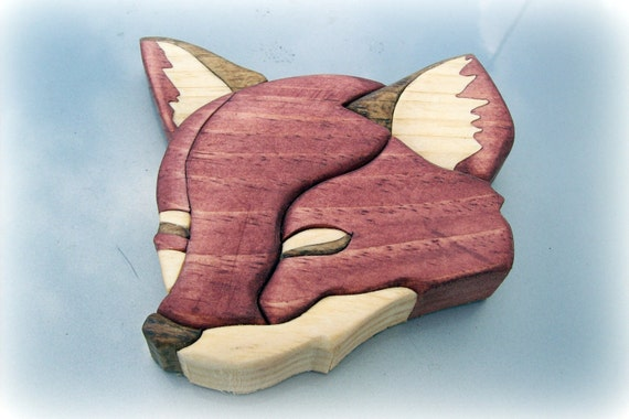Wooden Red Fox Head