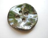 Seaweed Green Large Porcelain Button - Handmade